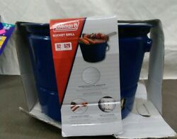 Coleman Blue Portable Bucket Charcoal Grill Outdoor Cooker Bbq Backyard New