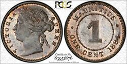 Mauritius 1 Cent 1884 Ms64 Bn Pcgs Bronze Km7 Victoria Finest @ Ngc And Pcgs