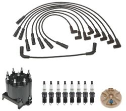 Acdelco Ignition Kit Distributor Rotor Cap Wire Spark Plugs For Chevy Caddy Gmc
