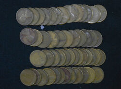 1c One Cent Penny 1929 S Lincoln Wheat Circulated 50 Coin Roll 4589