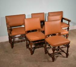 Set Of 6 Antique French Renaissance Revival Oak And Vinyl Chairs W/armchairs