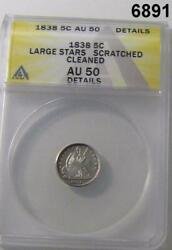 1838 Half Dime Anacs Certified Au50 Large Stars Scratched Cleaned Details 6891
