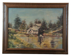 20th Century Impressionist Country Landscape Oil On Canvas Water Mill Farm