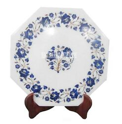 12 White Marble Serving Plate Lapis Lazuli Inlay Floral Marquetry Art Decor