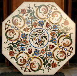 36 White Marble Dining Center Table Top Marquetry Inlay Living Room Decor E362