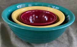 Vintage Usa Oven Ware Ring Pottery Mixing Bowls Yellow, Green, Red