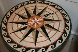 36 Marble Dining Round Top Dining Table Real Inlay Unique Marquetry Deco E848d