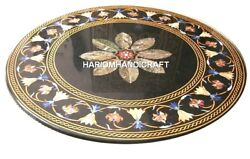 Black Marble Dining Table Top Creative Rare Mosaic Kitchen Inlay Decorated H5663