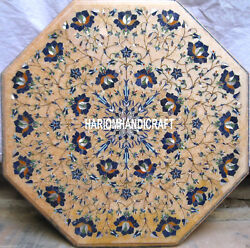 White Marble Handcrafted Table Tops Decorative Lapis Stone Dining Room Art H4038