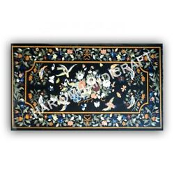 5'x3' Black Marble Top Dining Table Collectible Inlay Work Home Decors Art E971b