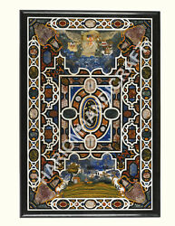 5and039x3and039 Marble Black Dining Table Top Inlay Mosaic Art Beautiful Home Gifts E837b