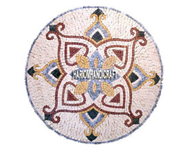 Marble Top Occasional Table Mosaic Inlay Restaurant Collectible Arts Decor H3901