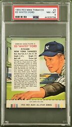 1955 Red Man Tobacco Whitey Ford 3 Psa 8 With Tab New York Yankees   Hof