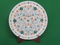 15'' White Round Marble Serving Plate Inlaid Fine Mosaic Stone Collectible Gifts