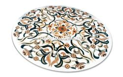 White Marble Modern Dinette Table Top Semi Indian Inlay Kitchen Real Decor M347