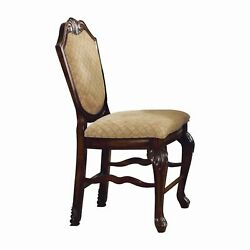 Wooden Counter Height Chair With Fabric Upholstered Seat And Back, Brown And ...