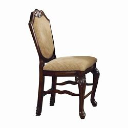 Wooden Counter Height Chair With Fabric Upholstered Seat And Back Brown And ...