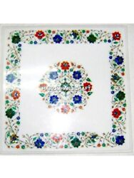Floral Beautiful Marble Console Table Top Inlay Collectible Art Real Decor H5322
