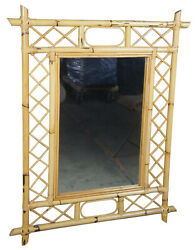 Vintage Hollywood Regency Style Bamboo Wall or Hall Accent Mirror Boho Chic