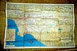 Vintage Map Rail Motor Coach Lines The Pacific Electric Railway S. Cal 1946