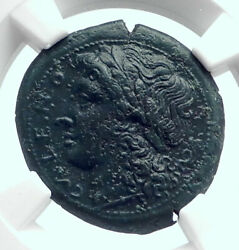 Cales In Campania Authentic Ancient 270bc Greek Coin Apollo Man Bull Ngc I81703