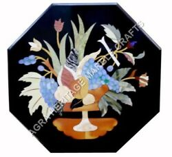 24 Marble Outdoor Coffee Table Top Fruit Inlay Mosaic Work Hallway Decor E472