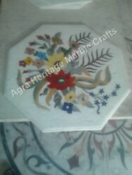 24x24 Inch White Marble Coffee Table Top Marquetry Christmas Gifts Arts