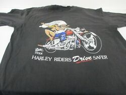 Vtg 80s/90s Rubber Tees Harley Riders Drive Safer Biker Motorcycle Sz 2xl