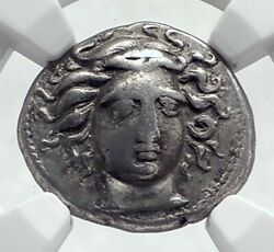 Larissa In Thessaly Ancient 400bc Silver Greek Coin Nymph Horse Ngc I81706