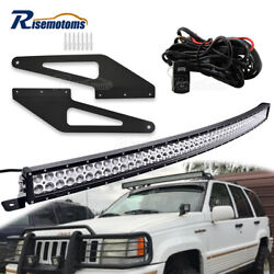 50 Roof Curved Dual Row Light Bar Mount Brackets Kit For Jeep Grand Cherokee Zj