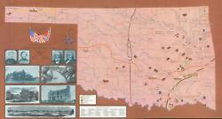 1963 Wright And Fischer Pictorial Map Of Oklahoma Civil War Sites