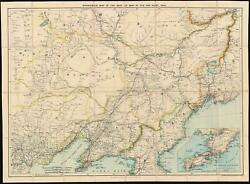 1904 Stanford Map Of Manchuria And China Russo-japanese War
