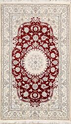 250 Knots Floral Nain Oriental Area Rug Wool Hand-knotted Home Decor Carpet 5x8