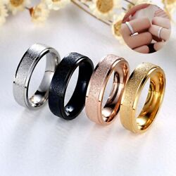 4 Colors 6mm Man Ring Gift Steel Couple Womenand039s Frosted Band Size 6-12 Stainless