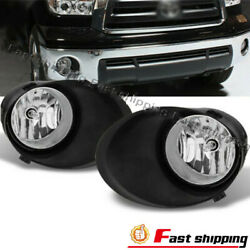 Fits 2007-2013 Toyota Tundra Bumper Lhandrh Clear Lens Fog Lamps Lights W/covers