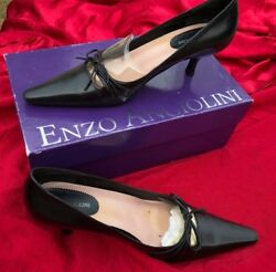 Enzo Angiolini Black Leather Easy Camore Stiletto Pointed Pumps Heel 7 1/2 M