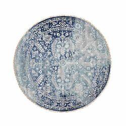 8and039x8and039 Round Broken Farsian Heris Design Wool And Silk Hand Knotted Rug R48251