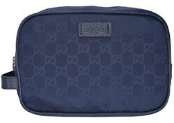 New Gucci 510338 Blue Nylon GG Guccissima Large Toiletry Cosmetic Dopp Bag $265.50