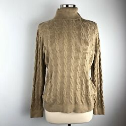 Lands End Womens XL 18-20 Sweater Tunic Turtleneck Camel Brown Tan Cable Knit AA