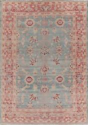 All-over Vegetable Dye Antique Look Blue Egyptian Distressed Area Rug Wool 9x12