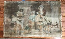 Antique Oil Painting On Canvas Or Tapestry Original 18c