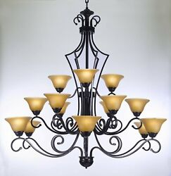 Wrought Iron Chandelier Large Foyer Entryway Lighting Country French 3 Tiers