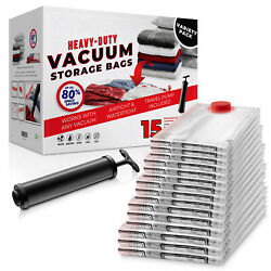 15 Pack Vacuum Space Storage Saver Bags And Travel Hand Pump To Organize Store