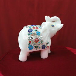 8'' Marble Elephant Trunk Up Multi Floral Arts Semi Precious Inlay Gifts H3769