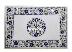 36x48 Marble Dining Table Top Lapis Lazuli Inlay Stone Living Room Decor Gifts