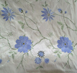 Fab Silk Embroidered Fabric 9.5 Yards X 54 Inches Lg Blue Flowers Marvic Textil