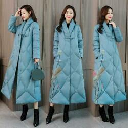 Women Padded Coat Cotton Chinese Floral Print Jacket Trench Long Parka Overcoat