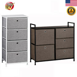 Faux Linen Home Dresser Tower with Faux Linen Drawer Steel Frame Storage Cabinet