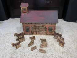 Super Rare Antique 1890s Converse Red Robin Farm Barn Wooden With Animals Toy