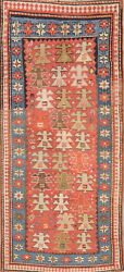 Pre-1900 Antique Tribal Vegetable Dye Kazak Caucasian Russian Runner Rug 3and039x7and039